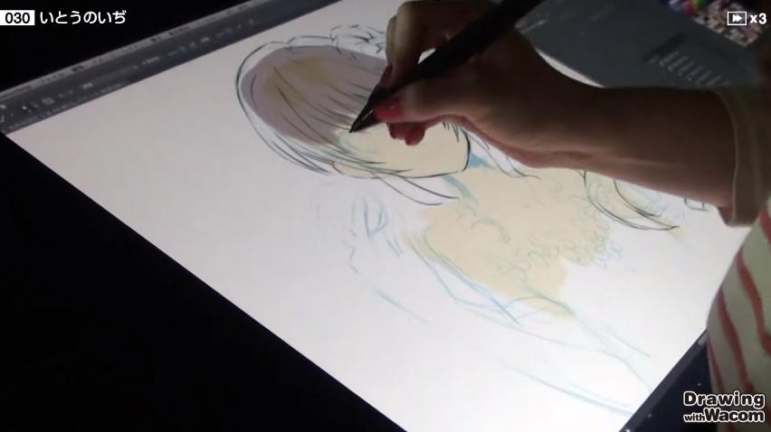 筆圧を効かせたブラシで線の強弱を意識して描いていく